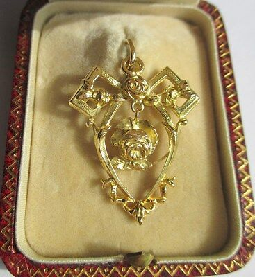 Splendide grand pendentif ancien - Roses - French gold pendant or 18 carats 750