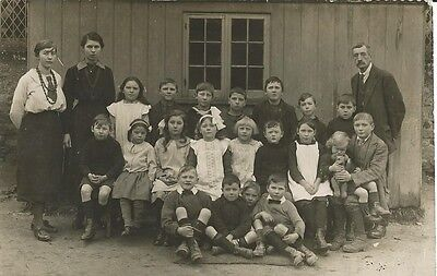 Social History, Unknown School Class With Teachers, Photo Postcard