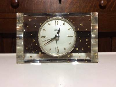 Vintage Seth Thomas lucite electric alarm clock starbursts and gold bubbles
