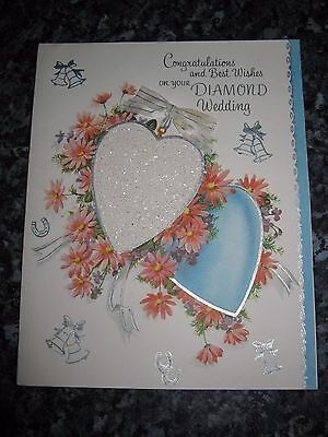Vintage  Diamond Wedding - Anniversary Card 1960s - Congratulations - Unused