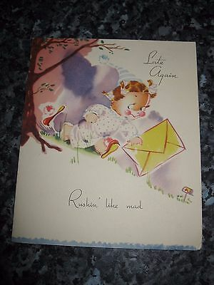 Vintage Greetings Card -  Late Again - Birthday 1950s - Unused