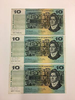Coombs/Randall Commonwealth Of Australia $10 Note X3