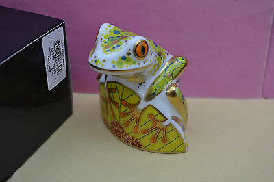 """Royal Crown Derby Paperweight """"SKIP"""" Tree Frog  1st Quality & Original Box"""