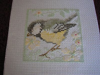1 Completed cross stitch, Great Tit.
