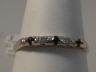 668F Ladies 9Ct Gold Sapphire And Zirconia Band Ring Size P
