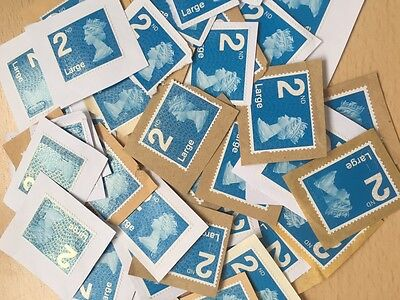 50 x UK Royal Mail Large Blue 2nd Class Unfranked Stamps On Paper - Face £37.50
