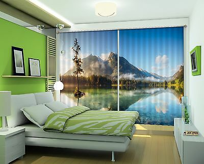 3D Hills Lake 8 Blockout Photo Curtain Printing Curtains Drapes Fabric Window CA