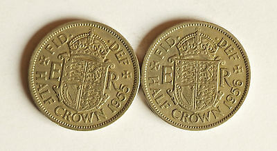 Two Elizabeth II HALF-CROWNS dated 1955 and 1956