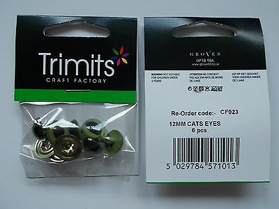 Trimits Safety eyes, Green Cat, toy eyes, 12mm, 15mm, 18mm