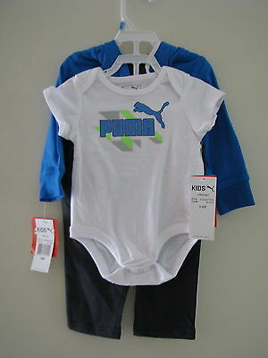 Puma Infant 3 Piece Bodysuit & Tracksuit Set Newborn Baby Hoodie Pants Gift Blue