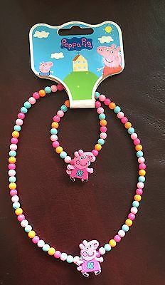 Peppa Pig Girls Necklace and Bracelet - New with Tags