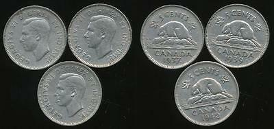 Canada, Group of 3 George VI 5 Cent Coins (1937, 1939, 1942) - Fine