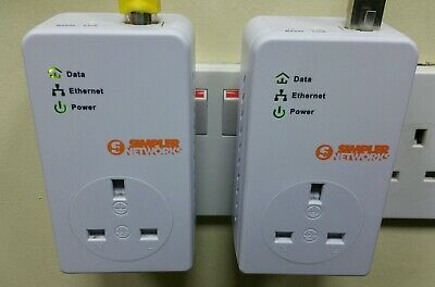2 x BT Simpler Networks HP200PT64BT2 Powerline Adapters + 2 x Ethernet Cables