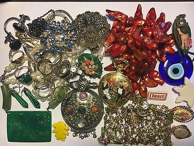 Bulk Lot Of Junk Jewellery Pocket Watch 21 Rings Brooches Crafts Cuff Links