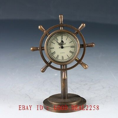 Old Cruated Chinese Brass Hand Made Mechanical Globe Clock   ZJ27