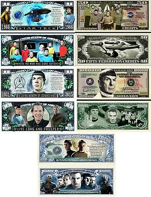 Star Trek Set of 5 Collectible Dollar Bill Funny Money Novelty Note w/Protectors