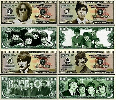 The Beatles Set of 4 Collectible Million Dollar Bill Novelty Notes
