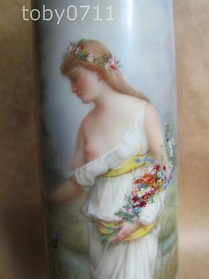 Limoges Guerin Pouyat Elite Ltd Tall Hand Painted Vase C1921