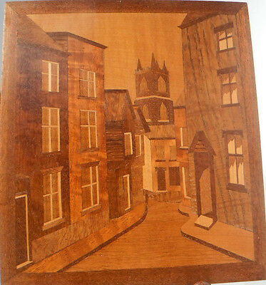 Vintage Wooden Marquetry Street Scene Picture  Inlaid Wood 20x23cm