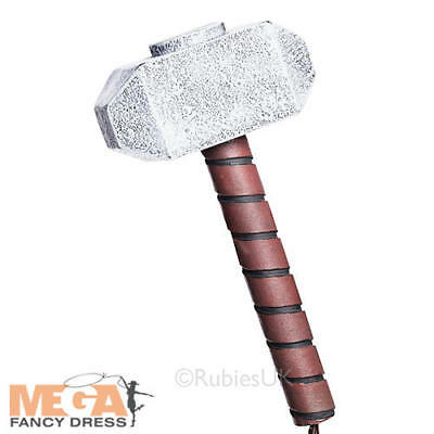 Thor Hammer Mens Fancy Dress The Avengers Marvel Weapon Adults Costume Accessory