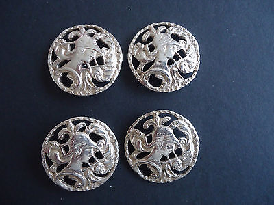 Set of 4 Antique Silver Buttons
