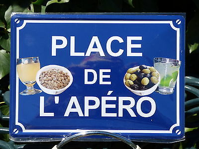 PLAQUE METAL RUE DECORATION 15x21cm PLACE DE L'APERO bar pub bistrot pastis vin