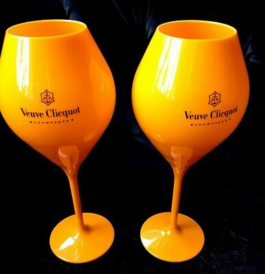 Veuve Clicquot Champagne Orange Acrylic Tasting Glass Extra Large brand new x 2