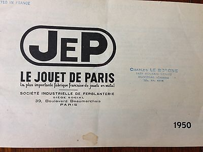 CATALOGUE Toys JEP   /   1949 Supplement / 50 Catalogue in French from Canada