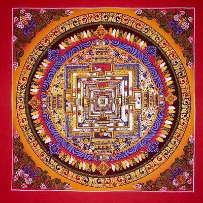 Rare Handpainted Original Signed Tibetan Chinese Mandala Thangka Gold Painting p