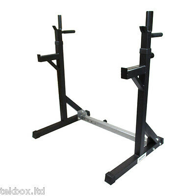 Komodo Adjustable Squat Rack Heavy Duty Dip Stand Weight Bench Lifting Gym Power