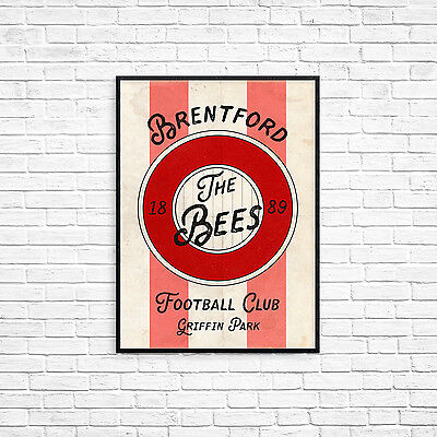 Brentford Football Club A4 Picture Art Poster Retro Vintage Style Print