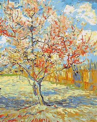 Framed Painting by Number kit Van Gogh's Pink Peach Tree in Blossom DIY DY7172