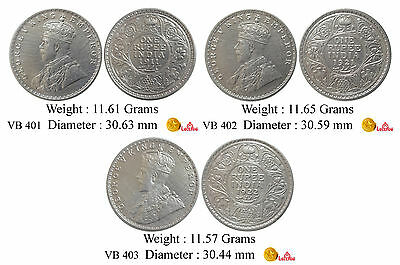 British India George V 1911 1921 1922 Bombay Mint Silver Rupee 3 Coin VB Set