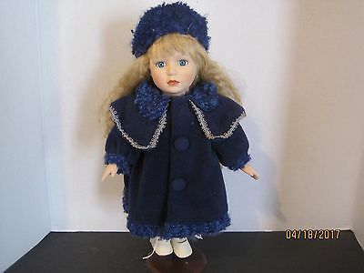 Collector's Choice Dandee Porcelain Doll with Blue coat Dress 13 in blonde  bb