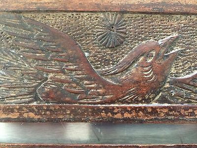 Pair Antique Arts Crafts Carved Oak Bird Panels