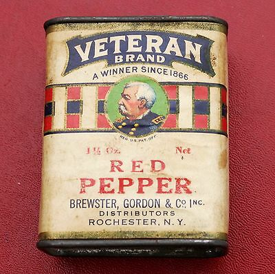 Veteran Brand Original Paper Label Spice Tin - Red Pepper