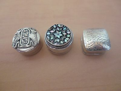 3 Silver Pill Boxes