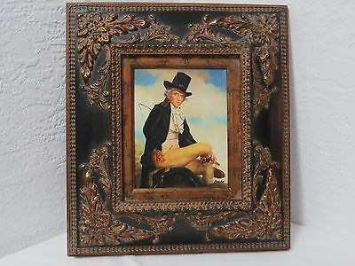 """Antique Framed Oil Painting on Board Signed """"CRETE"""" Art Man on Horse"""
