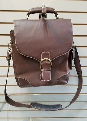 Brown leather shoulder laptop bag satchel