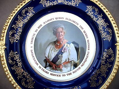 Quality Aynsley Collector's Plate. A Tribute to the Queen Mother. 70yrs.