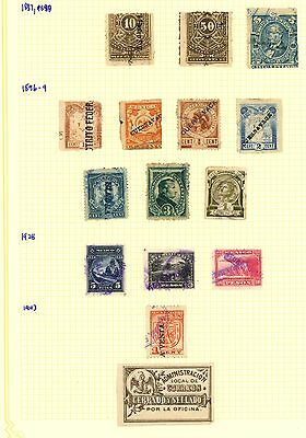 Mexico 1891 1896 1929 1943 Stamp Album Page Of Revenues: Ra Carter Colln