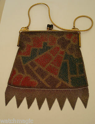 Vintage 1920's Chain Mail Evening Bag With Gilt Fittings
