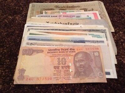 Lot Of 65 X World Banknotes. All Different. Contains Old And New Banknotes