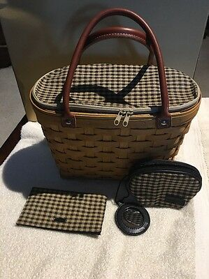 Longaberger Basket Purse With Matching Checkbook Cover And Small Makeup Bag