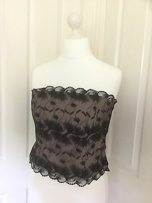 Principles Pink With Black Over Lace Bustier Top Size 16