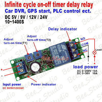 5V 12V Infinite Loop Cycle Delay Timer Switch Device ON OFF Control Relay Module