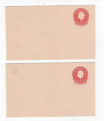 1966 ENVELOPE QEII SMALL (25mm) 4c RED ON BROWN-BUFF STOCK. TWO TYPES ~  #200101