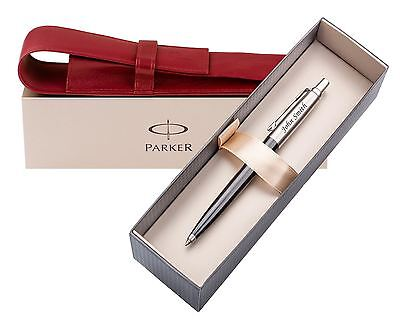 Personalised Laser Engraved Ballpoint Pen Parker & Leather Pouch Laser Engraved