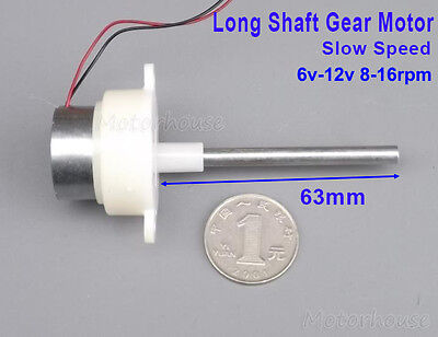 DC 6V 9V 12V 16RPM Gearmotor Slow Speed Long Shaft Mini Turbine Worm Gear Motor