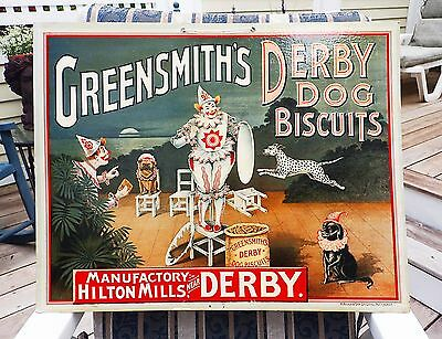 Circa 1900 Greensmith's Derby Dog Biscuits advertising store display sign